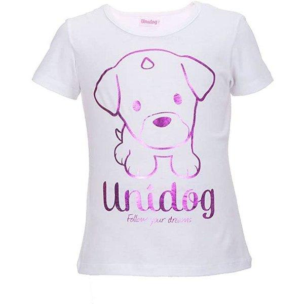 UNIDOG Unicorn Mädchen T-Shirt mit Einhorn - Hund, weiß