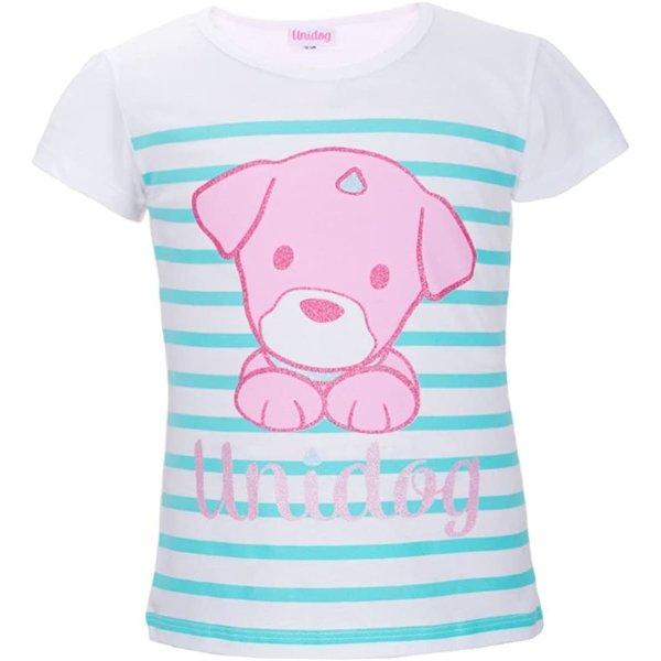 UNIDOG T-Shirt Unicorn Hund Einhorn-Hund, weiß-türkis