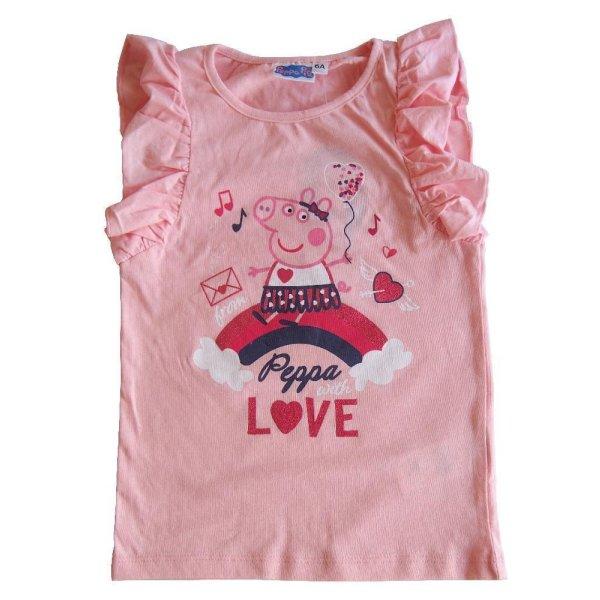 Peppa Pig Wutz Mädchen T-Shirt mit Rüschen - rosa