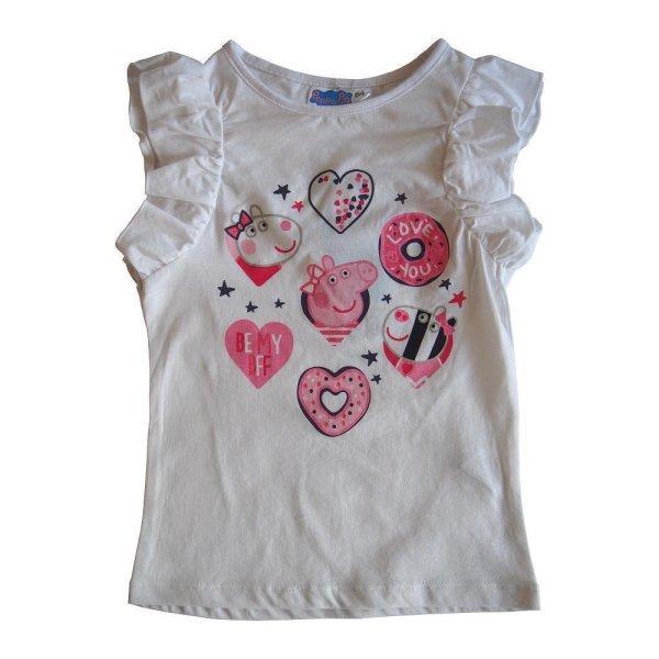 Peppa Pig Wutz Mädchen T-Shirt mit Rüschen, weiß