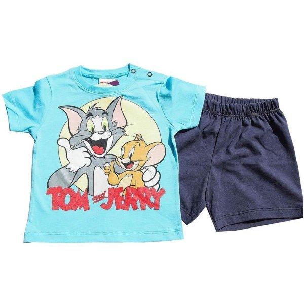 Tom und Jerry Shorty Pyjama Jungen Schlafanzug 2telig., blau
