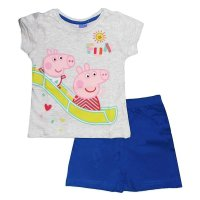 Peppa Pig Wutz 2 teilig. Set Hose T-Shirt, blau-grau